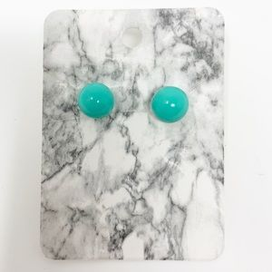 NEW Teal Blue Ball Acrylic Stud Earrings Boutique